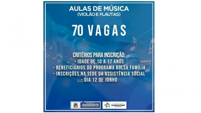 Prefeitura Municipal de Amarante vai disponibilizar aulas de música