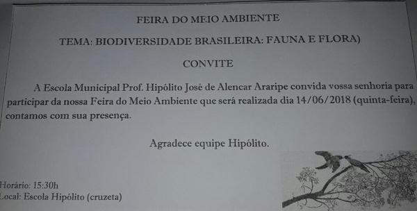 E.M.Hipólito Araripe realizará Feira do Meio Ambiente nesta Quinta-Feira