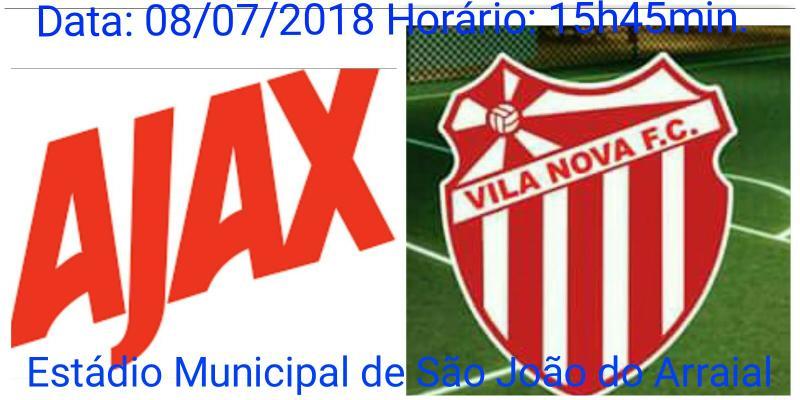 Ajax e Vila Nova de Piripiri realizarão jogo amistoso em São João do Arraial