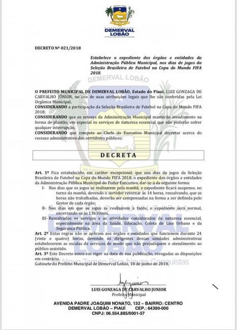 Demerval Lobão | Prefeito Júnior Carvalho assina decreto sobre expediente durante a copa do mundo