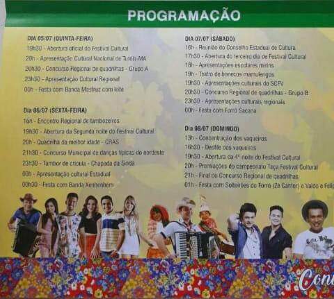 Confira a programação do XIV Festival Cultural dos Cocais em São João do Arraial