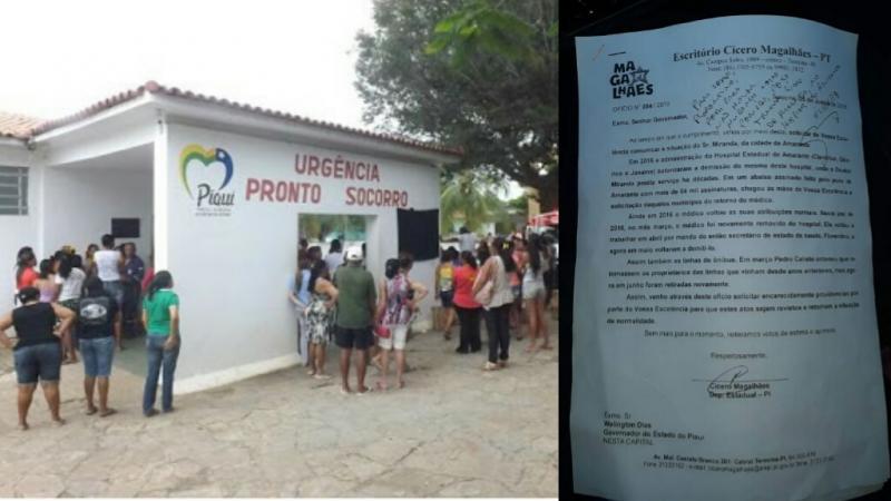 Ofício comprova demissão de Dr.Miranda do hospital e a readmissão feita pelo governador
