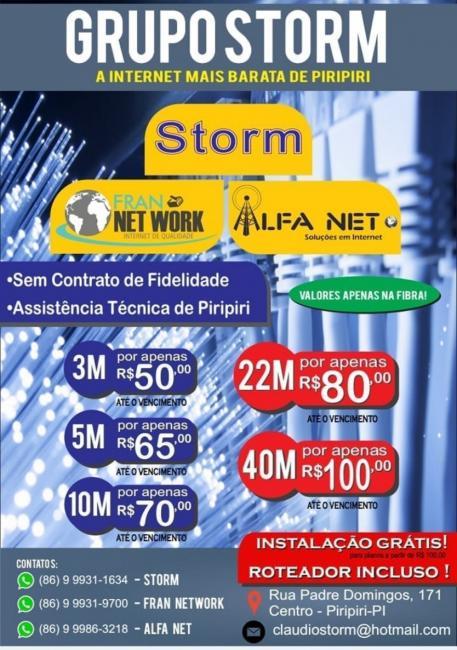 Internet rápida e barata é com o Grupo Storm