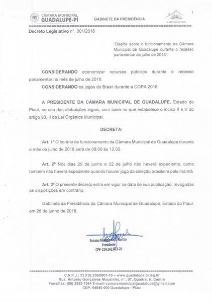 Presidente promulga Decreto Legislativo sobre funcionamento da Câmara no Recesso