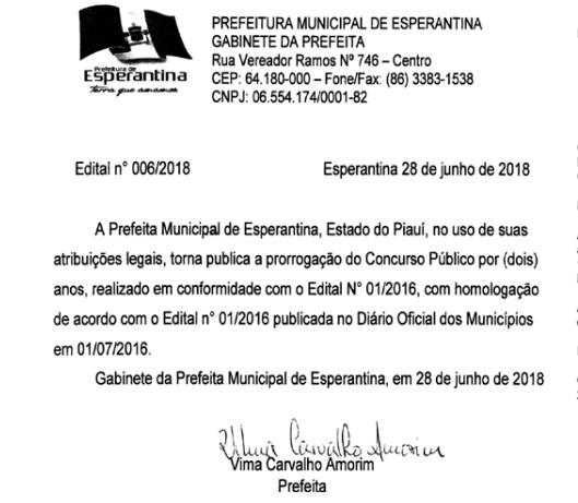 Prefeitura de Esperantina prorroga validade de concurso público por mais dois anos