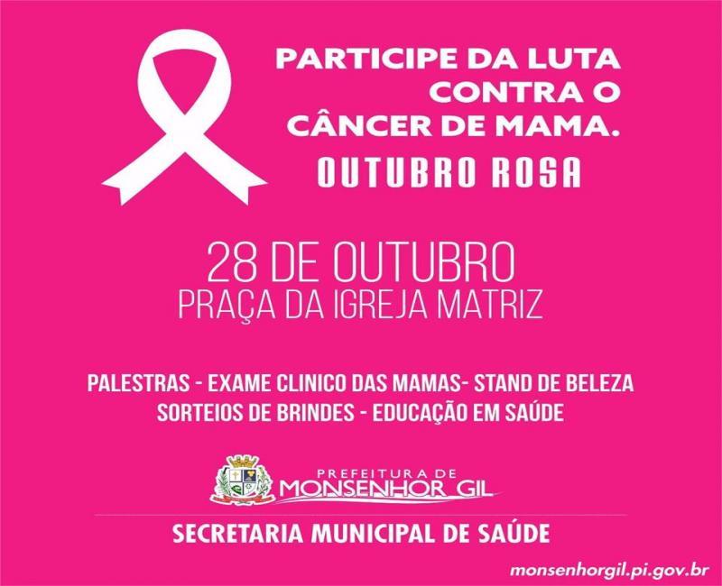 Secretaria Municipal de Saúde de Monsenhor Gil promoverá evento em atenção ao outubro rosa