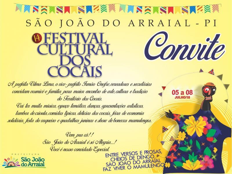 Convite: XIV Festival Cultural dos Cocais