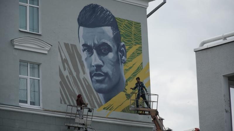 Neymar ganha pintura em paredão de Kazan, obtendo o mesmo prestígio de CR7 e Mess