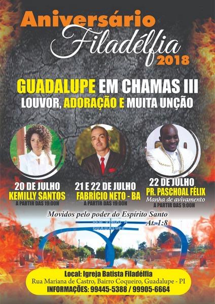 Participe do Aniversário da Igreja Batista Filadélfia - Guadalupe em Chamas III