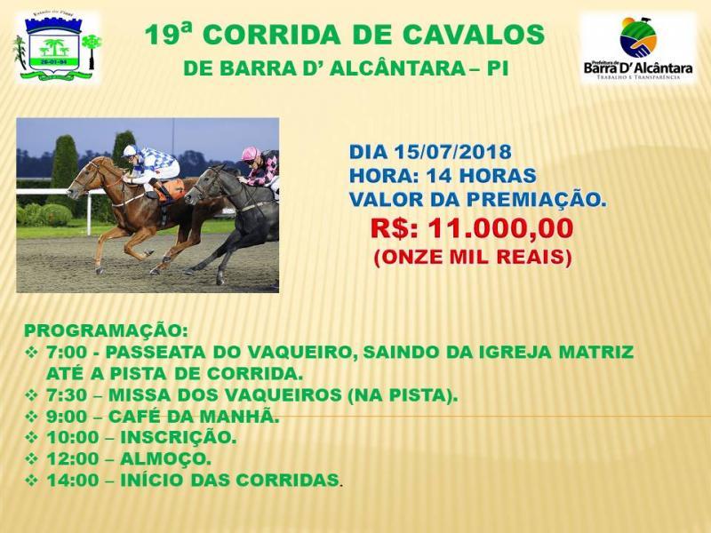 Grande corrida de cavalos nos festejos de Barra D'Alcântara em 15 de julho com 11 mil em prêmios