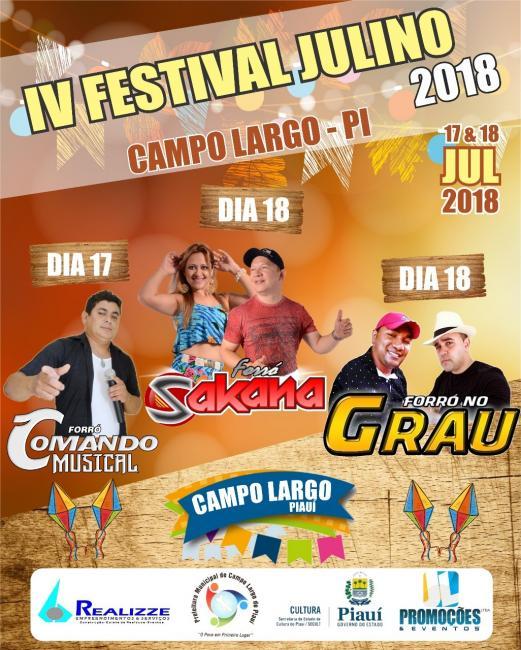 II Festival Julino acontecerá nos dias 17 e 18  de Julho em Campo Largo do Piauí