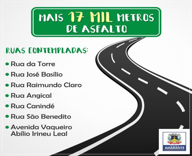 Prefeitura anuncia pavimentação de 17 mil metros de asfalto em Amarante