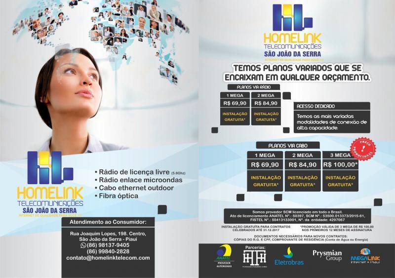 HOMELINK TELECOMUNICAÇÕES São João da Serra conectando nosso cliente ao mundo