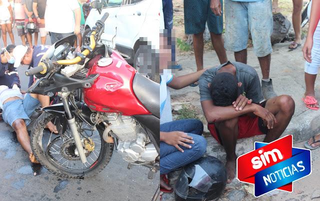 Colisão entre moto e carro deixa duas pessoas gravemente feridas no litoral