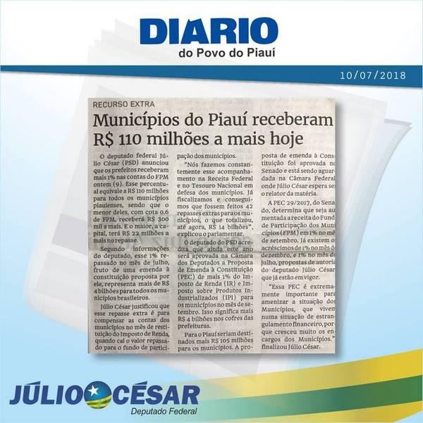 Atuação de Júlio César garante mais recursos para Municípios Brasileiros