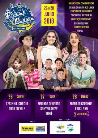 Festival de Cultura em Alto Longá começa dia 26 de julho