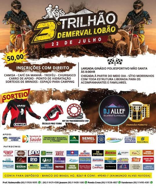 Demerval Lobão | Vem aí! 3º Grande Trilhão dia 22/07, inscrições abertas; participe!