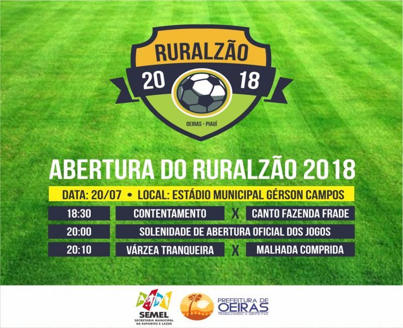 Campeonato Ruralzão começa nesta sexta (20) em Oeiras e reunirá 31 equipes.