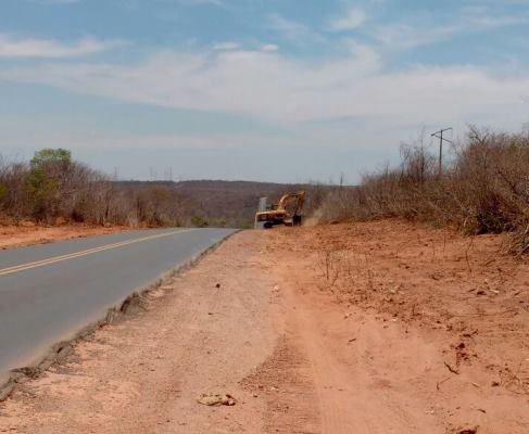 BR 135, máquinas trabalham no desmatamento do trecho de Eliseu Martins à Colônia do Gurguéia-PI.