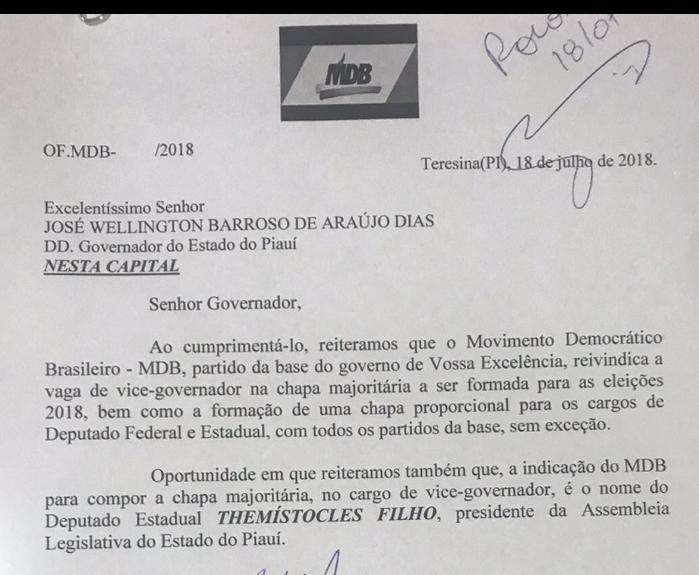Presidente do Legislativo Estadual Themístocles insiste pela indicação de vice