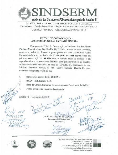 Sindserm de Batalha dá ultimato à prefeitura sobre implantação do Pisan 2018