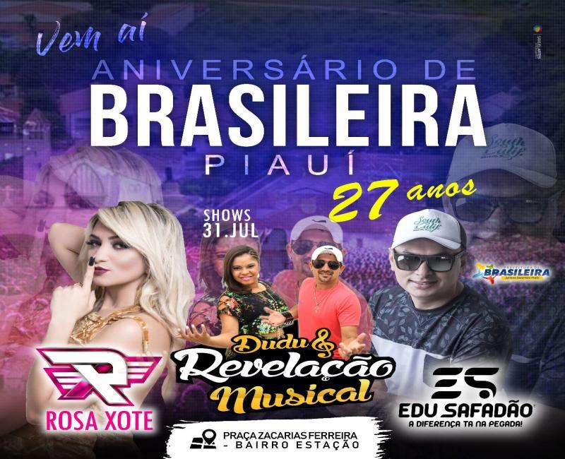 Shows na Praça Zacarias Ferreira no Bairro Estação animarão o aniversário de Brasileira