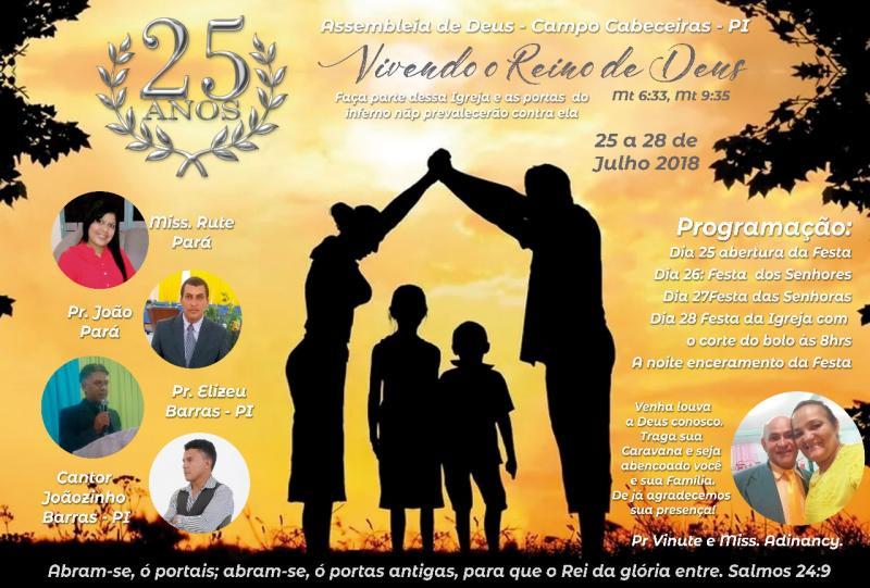 Igreja Assembleia de Deus realizará programação para comemorar 25 anos  em Cabeceiras
