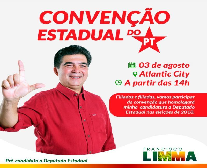 Pré-candidato Limma convida para Convenção Estadual do Partido dos Trabalhadores (PT)