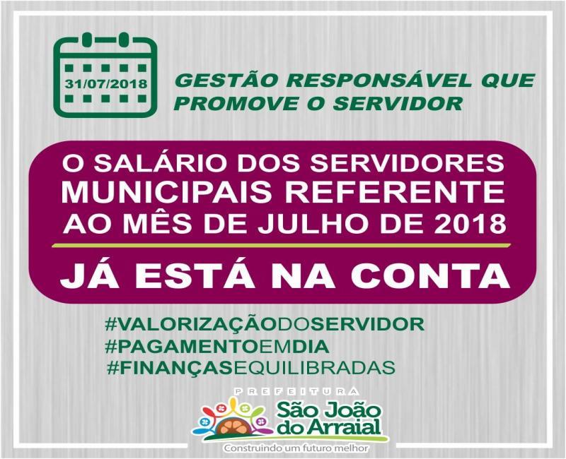 Salário dos servidores municipais de São João do Arraial referente ao mês de julho já está na conta