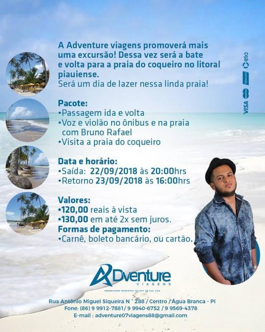 A Adventure viagens promoverá mais uma excursão