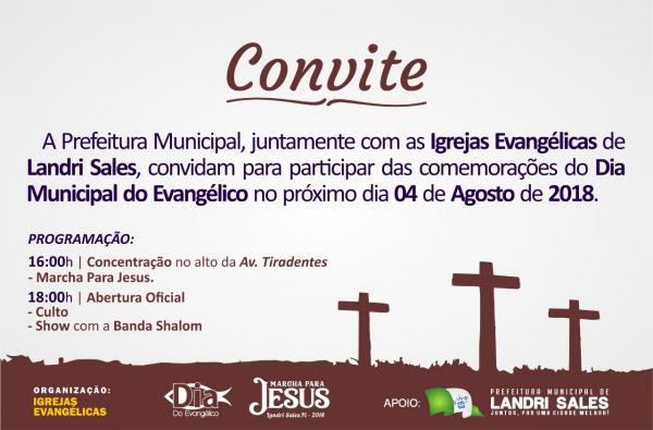 Prefeitura Municipal de Landri Sales convida a todos para participar do Dia do Evangélico