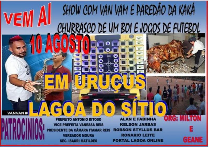 Grande festa em Uruçus com Vanvan Furacão do Povão  e Paredão de som no município de Lagoa do Sítio