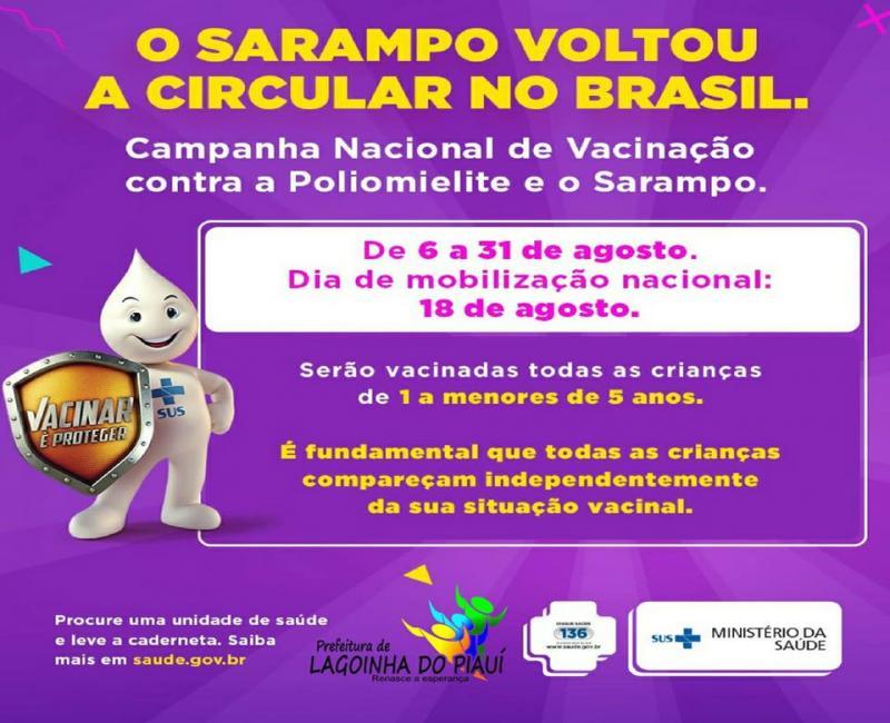 Secretaria de Saúde de Lagoinha do Piauí realiza campanha de vacinação contra pólio e sarampo