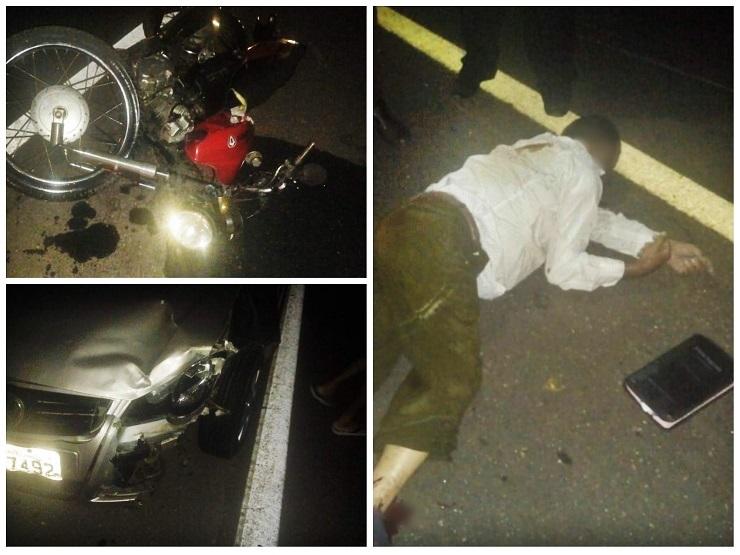 Home morre após colisão entre carro e moto na BR-343