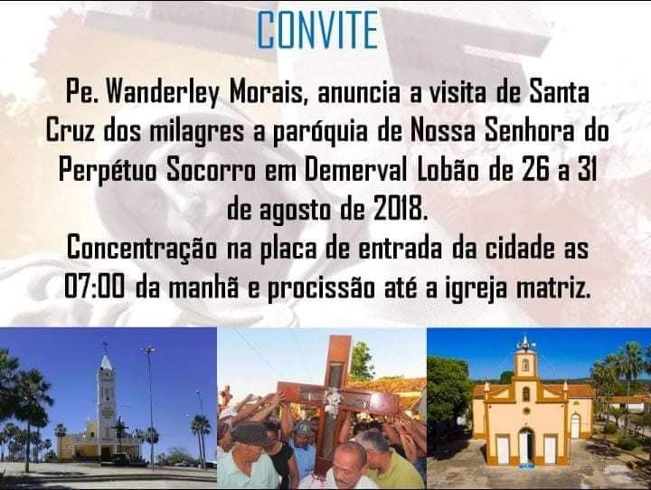 Demerval Lobão | Confira a programação detalhada da visita de Santa Cruz dos Milagres na cidade