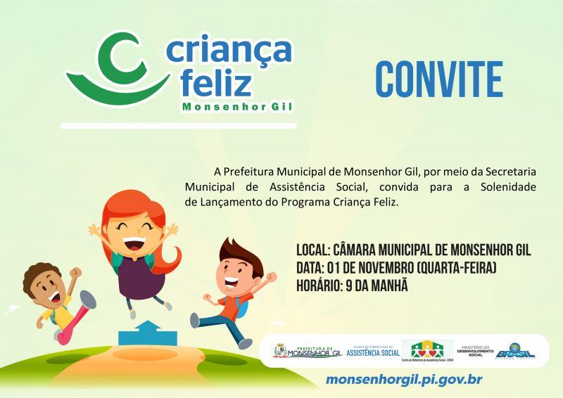 Programa Criança Feliz vai ser implantado em Monsenhor Gil