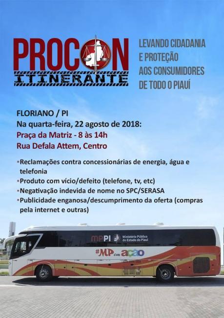 Floriano será contemplada com serviços do PROCON Itinerante