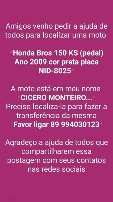 Cícero Monteiro de Rio Grande pede ajuda de amigos de Itaueira e região