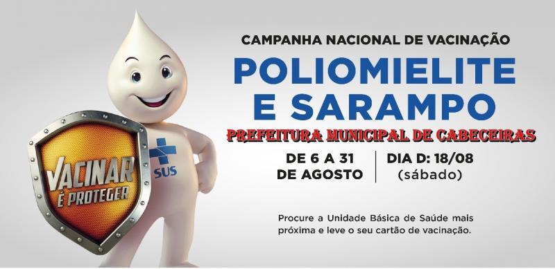 Dia D de Vacinação contra Poliomielite e Sarampo será neste sábado (18) em Cabeceiras