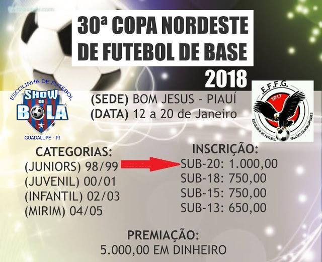 Escolas de Futebol de Guadalupe irão participar da 30ª Copa Nordeste de Futebol