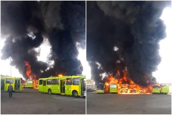 Sete ônibus pegam fogo dentro da garagem da Transcol em Teresina
