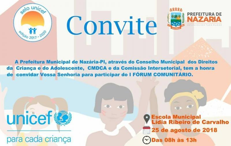 Prefeitura de Nazária convida população para participar do I Fórum Comunitário
