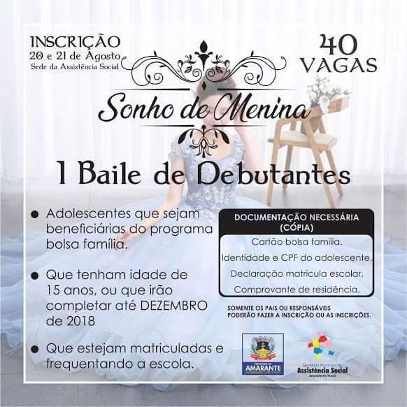 Prefeitura de Amarante vai realizar o I Baile de Debutantes