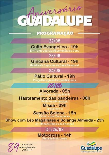 Participe da Programação de 89 anos de Emancipação Política de Guadalupe