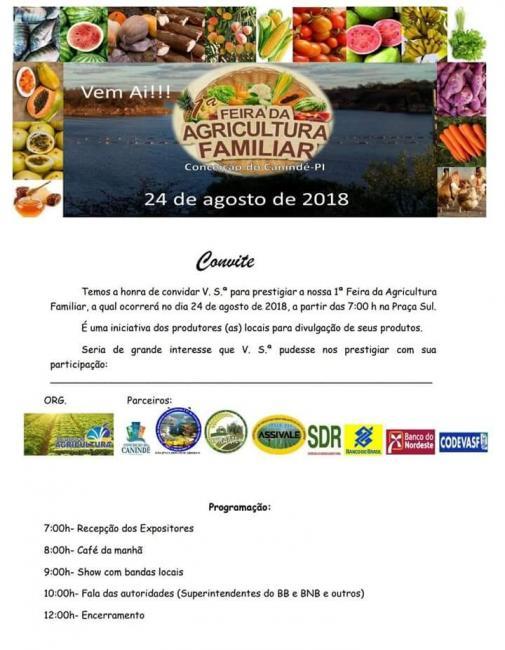Conceição do Canindé realizará primeira feira da Agricultura Familiar