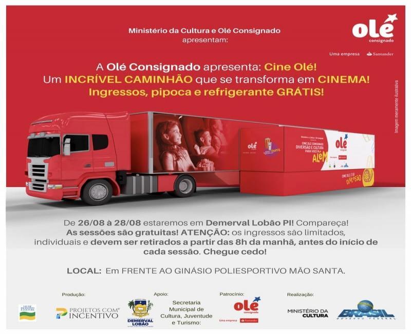 """Projeto """"Cine Olé"""" promoverá sessões gratuitas de cinema em Demerval Lobão"""