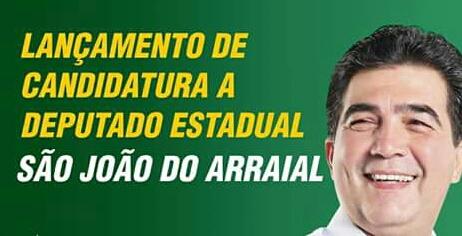 Deputado Limma realizará lançamento de candidatura em São João do Arraial