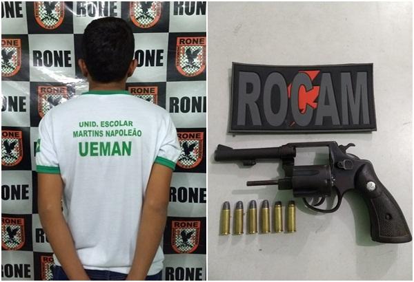 Estudante é apreendido com revólver na zona sul de Teresina