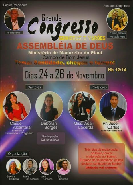 Grande Congresso senhores e varões Ministério de Madureira Gilbués-PI