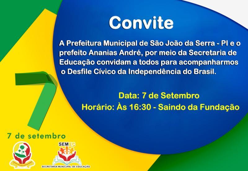 Convite para 07 de setembro